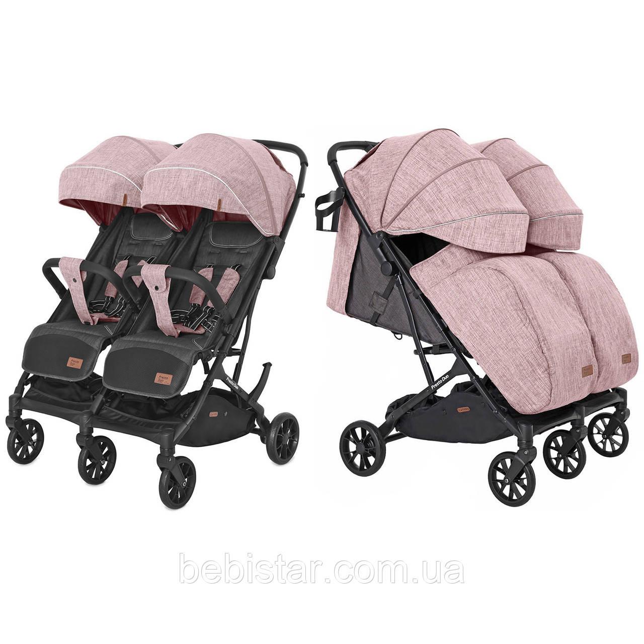 Коляска прогулочная для двойни розовая с дождевиком Carrello Presto Duo от 6 мес до 4 лет