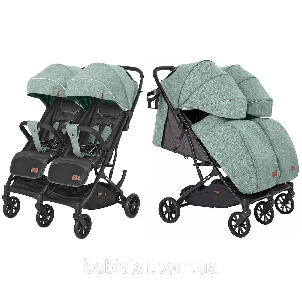Коляска прогулочная для двойни светло-зеленая с дождевиком Carrello Presto Duo CRL-5506 Tea Green от 6 месяцев