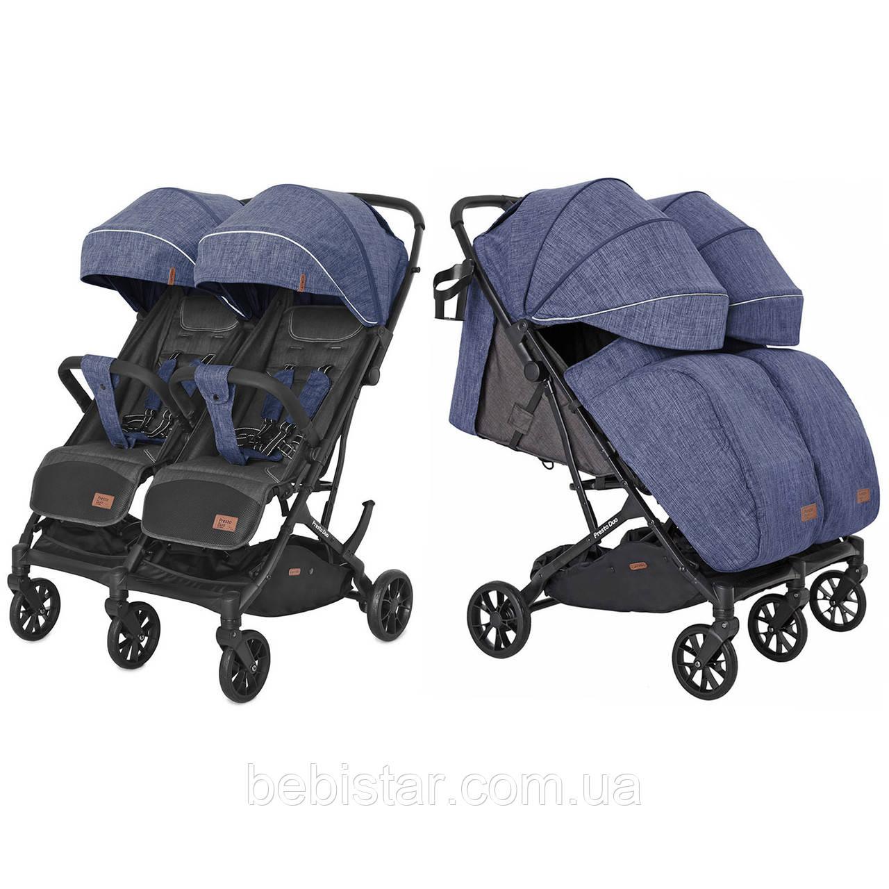 Коляска прогулочная для двойни синяя с дождевиком Carrello Presto Duo CRL-5506 Oxford Blue от 6 мес до 3-4 лет