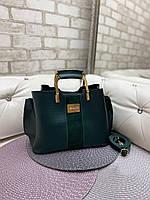 Зеленая женская сумка модная с квадратными ручками небольшая шоппер замша+кожзам, фото 1