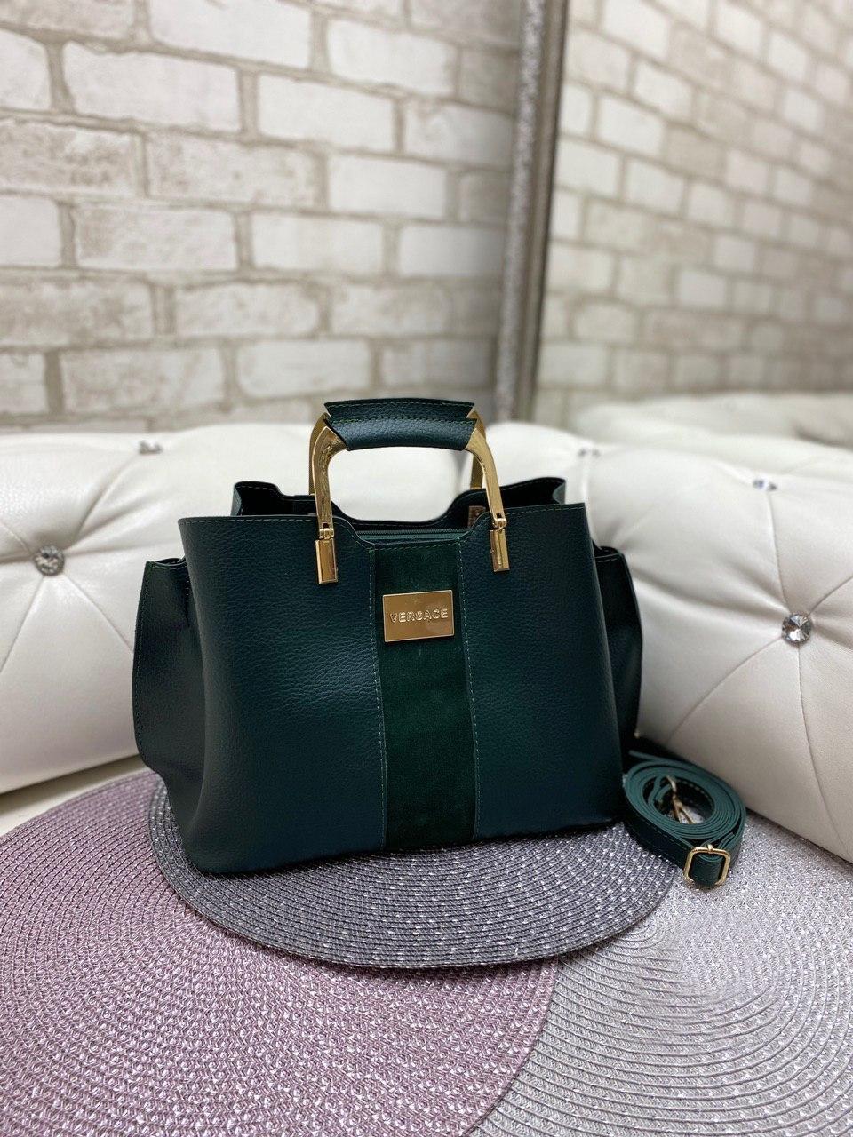 Зеленая женская сумка модная с квадратными ручками небольшая шоппер замша+кожзам