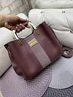 Замшевая женская сумка модная с квадратными ручками небольшая темная пудра замша+кожзам, фото 1
