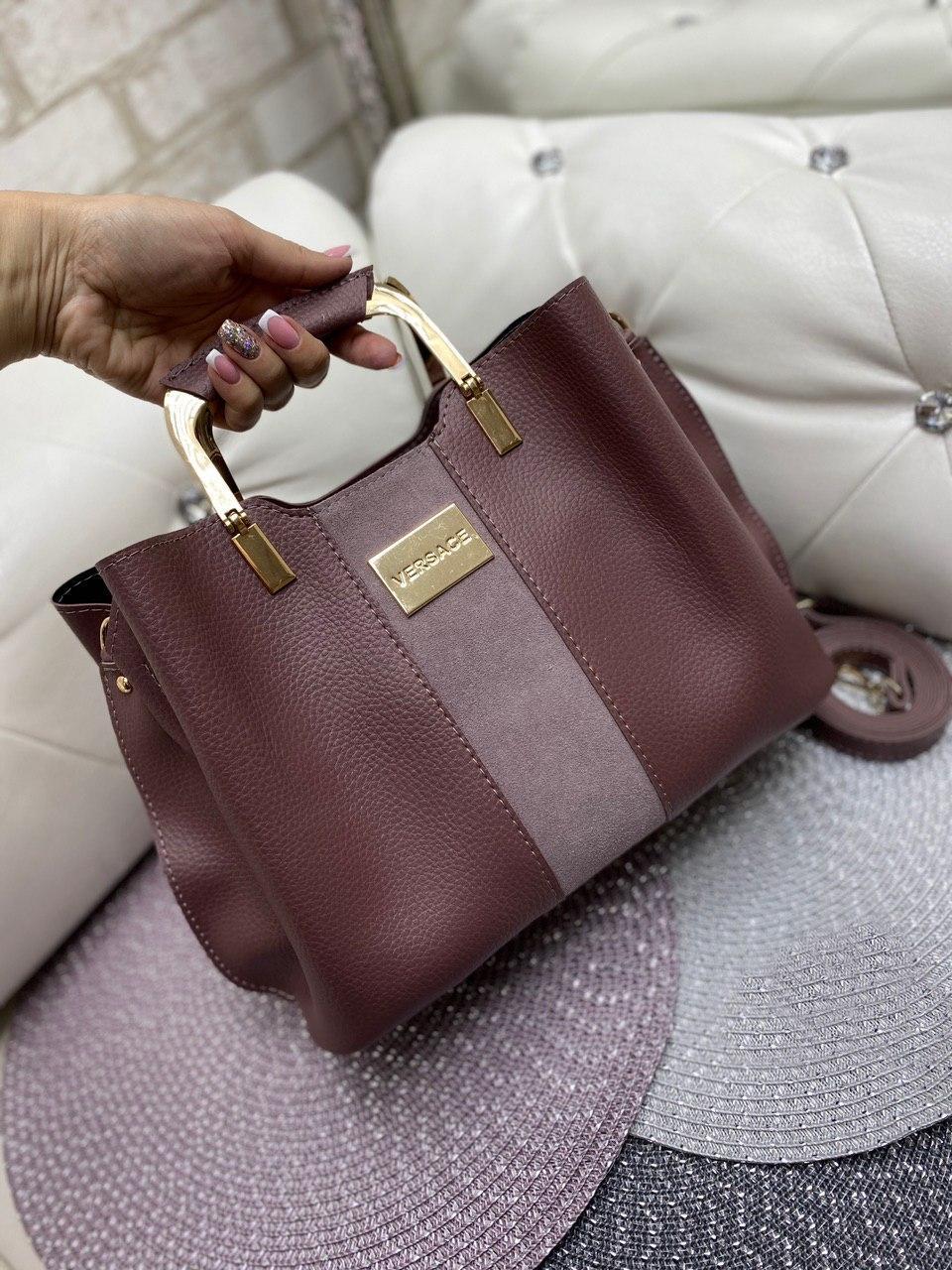 Замшевая женская сумка модная с квадратными ручками небольшая темная пудра замша+кожзам