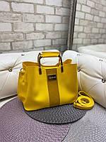 Женская сумка модная с квадратными ручками небольшая на плечо желтая замша+кожзам, фото 1