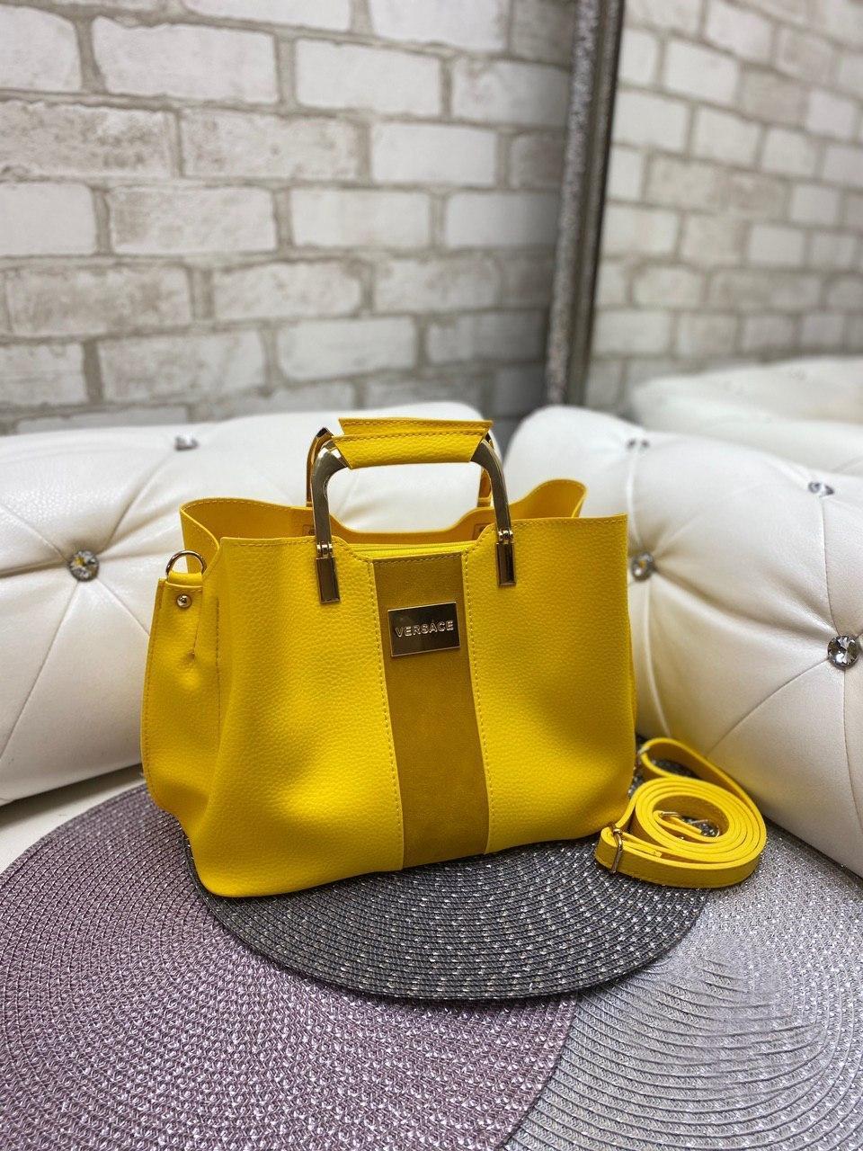 Женская сумка модная с квадратными ручками небольшая на плечо желтая замша+кожзам