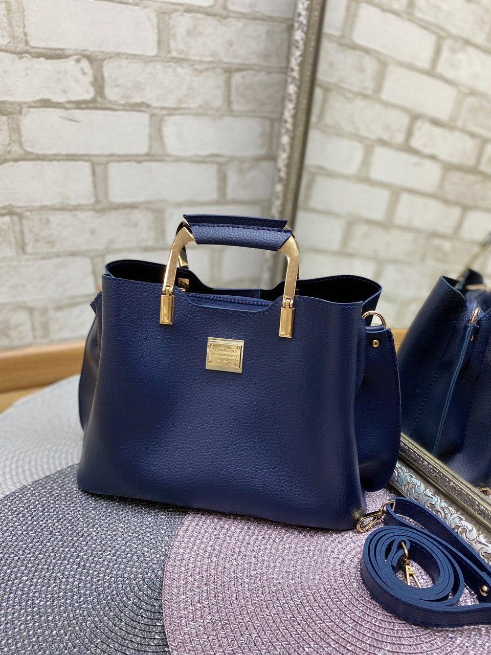 Сумка синя жіноча модна з квадратними ручками невелика на плече шоппер кожзам