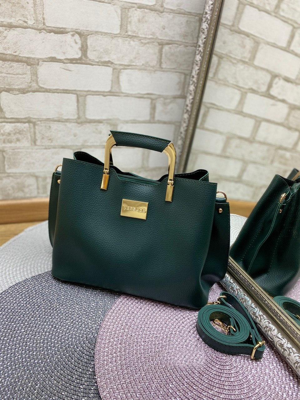Зеленая женская сумка модная с квадратными ручками небольшая на плечо шоппер кожзам