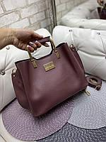 Женская сумка модная с квадратными ручками небольшая на плечо темная пудра кожзам, фото 1