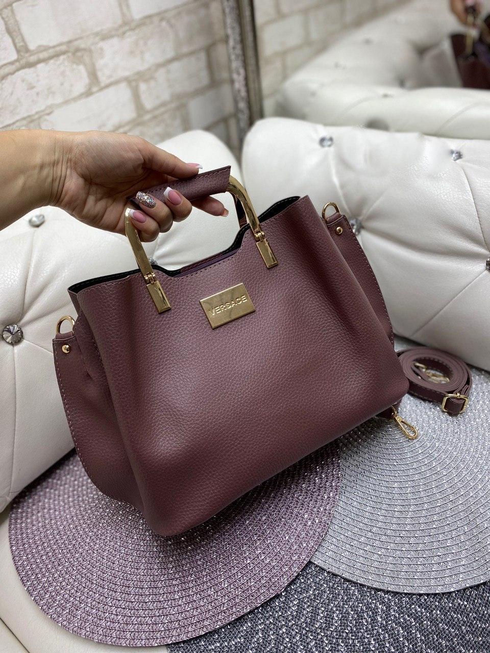 Женская сумка модная с квадратными ручками небольшая на плечо темная пудра кожзам