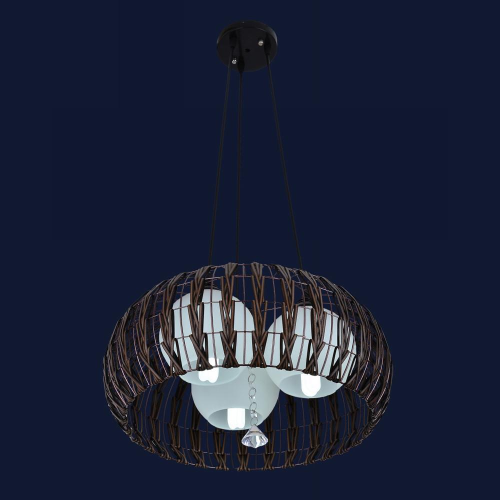 Висячая подвесная люстра с тремя плафонами в стиле Loft цвет коричневый &7076339-3