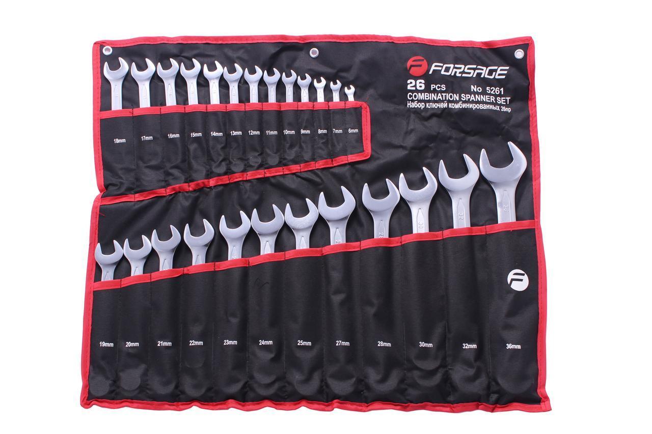 Набор ключей комбинированных, 26пр. (6-25, 27, 28, 30, 32, 36мм) на полотне Forsage