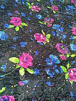 Стеганая плащевка с органзой на синтепоне. Синие-розовые цветы.