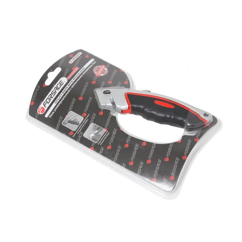Нож универсальный в метал. корпусе с прорезиненной рукояткой и запасными лезвиями, 5шт, в блистере
