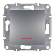 Переключатель одноклавишный с подсветкой Asfora сталь, EPH1500162