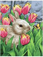 Картина за номерами Заєць в тюльпанах 40х50 см