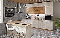 Кухня Эко с фасадами дсп ламинированное и барной стойкой, фото 1