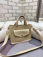 Бежевая женская классическая сумка на плечо средняя модная сумочка кожзам, фото 1
