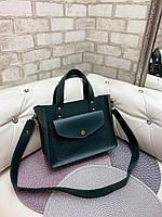 Зеленая женская классическая сумка на плечо средняя модная сумочка кожзам, фото 1