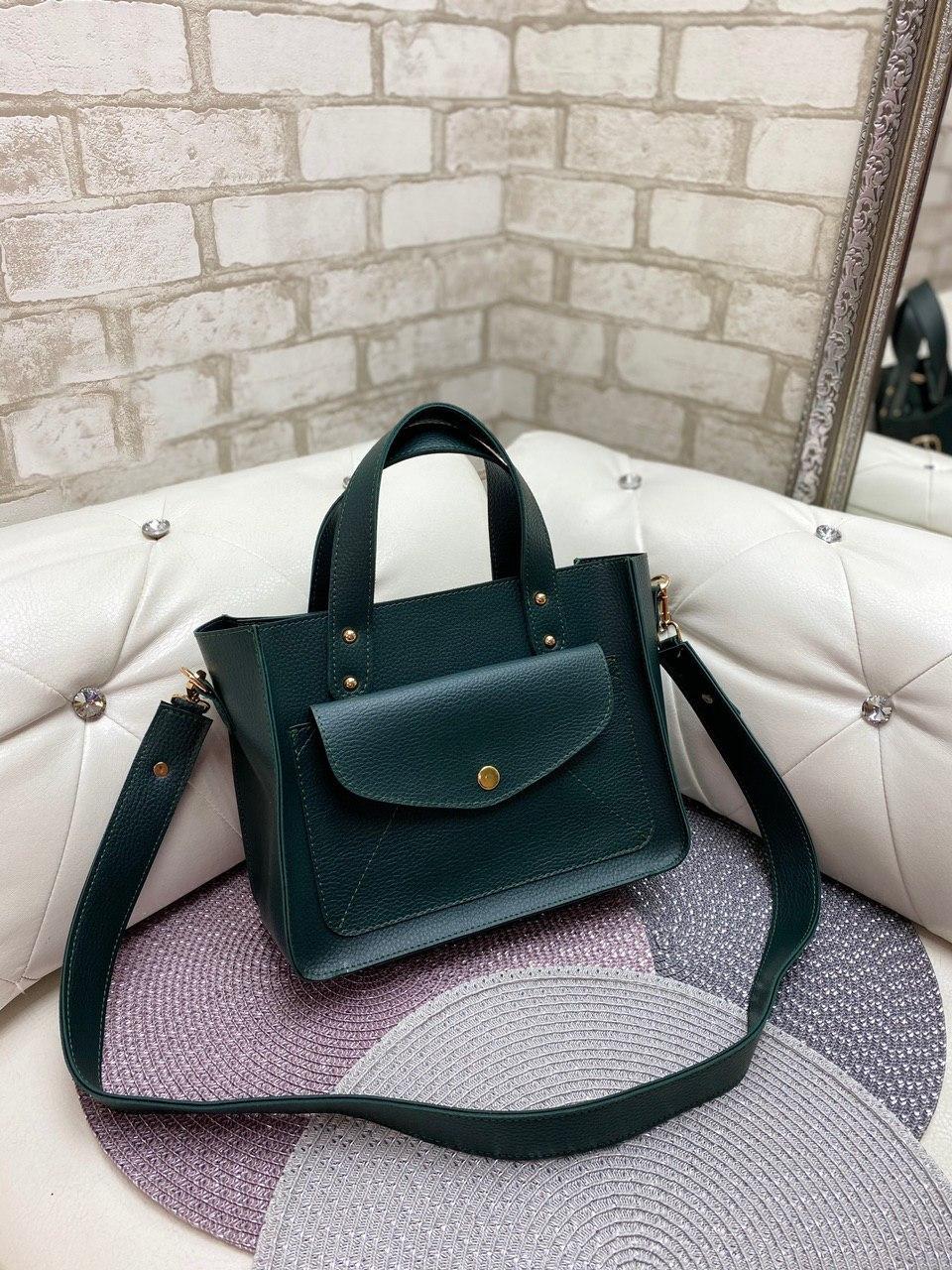 Зеленая женская классическая сумка на плечо средняя модная сумочка кожзам