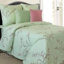 Полуторное постельное белье бязь гост зеленое ТМ Блакит  хлопок 120 г/м. кв.