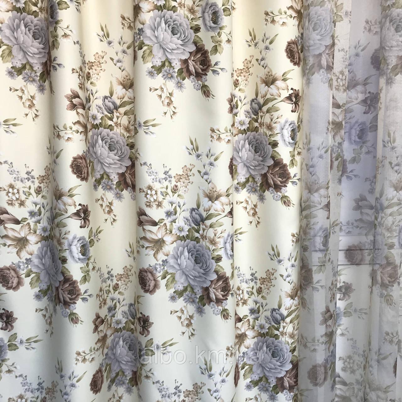 Штори тюль в вітальню кімнату квартиру, штори в стилі прованс для залу спальні кімнати, готові штори для залу спальні вітальні