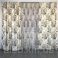 Готовые шторы в стиле прованс 150x270 cm (2 шт) с тюлью 400x270 cm ALBO Бежевые (SHT-629-1), фото 2