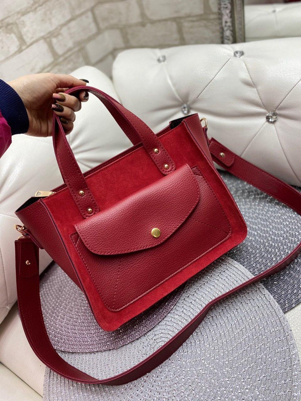 Красная замшевая женская классическая сумка на плечо средняя модная сумочка замша+кожзам