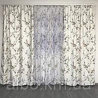 Готовые атласные шторы 150x270 cm (2 шт) с тюлью 400x270 cm ALBO Коричневые (SHT-611-3), фото 6