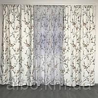 Готовые атласные шторы 150x270 cm (2 шт) с тюлью 400x270 cm ALBO Коричневые (SHT-611-3), фото 2