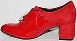 Туфли красные женские на каблуке от производителя модель КЛ2046, фото 3
