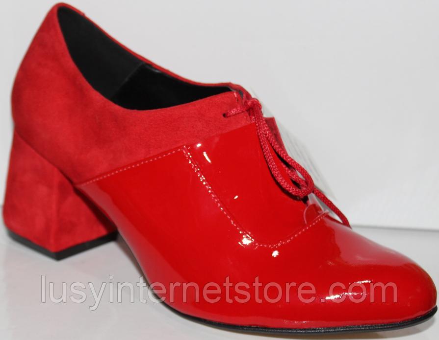 Туфли красные женские на каблуке от производителя модель КЛ2046