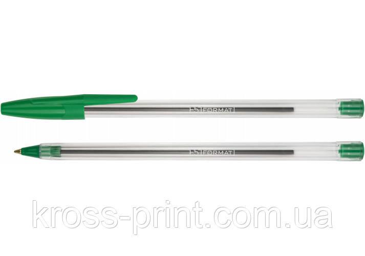 Ручка кулькова FORMAT F5 0,5 мм. Корпус прозорий, пише зеленим