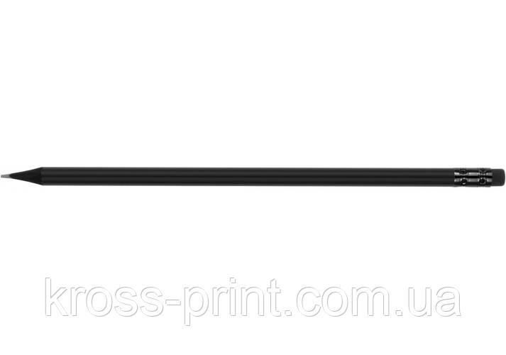 Олівець чорнографітний круглий Optima All BLACK HB корпус чорний, з гумкою