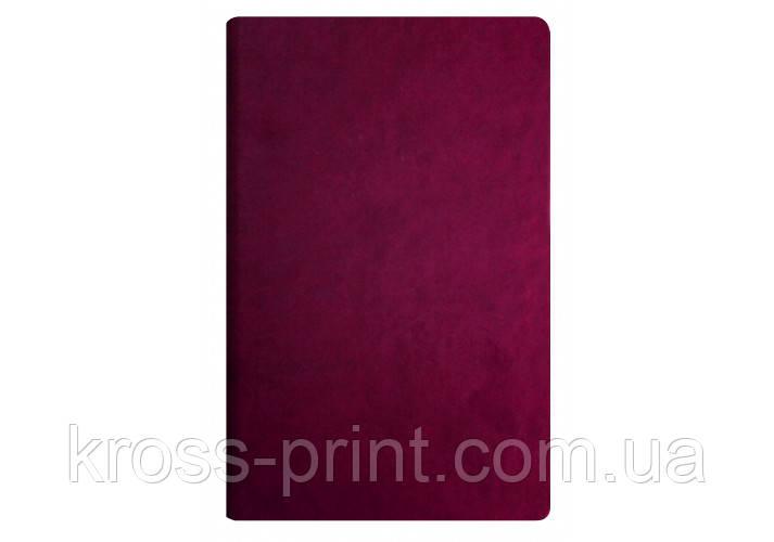 Діловий записник А5, Vivella, тверда обкладинка, білий нелінований блок, бордо