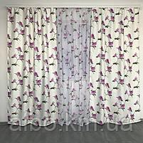 Готовые атласные шторы 150x270 cm (2 шт) с тюлью 400x270 cm ALBO Фиолетовые (SHT-614-7), фото 2