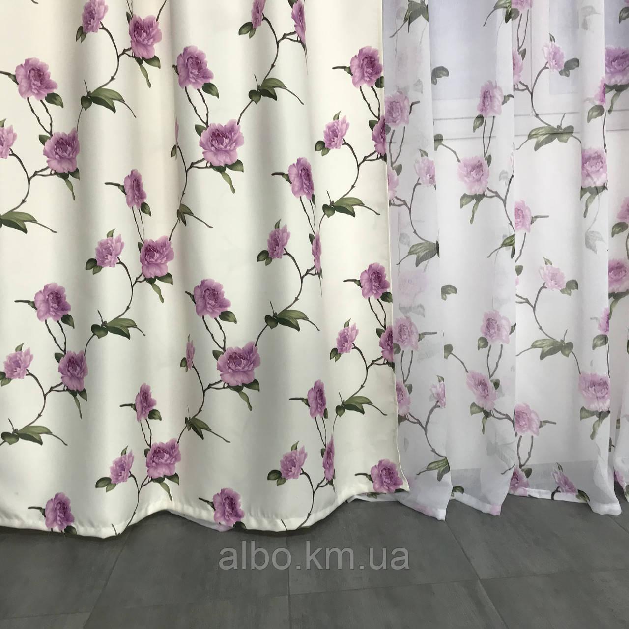 Готовые атласные шторы 150x270 cm (2 шт) с тюлью 400x270 cm ALBO Фиолетовые (SHT-614-7)