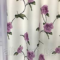 Готовые атласные шторы 150x270 cm (2 шт) с тюлью 400x270 cm ALBO Фиолетовые (SHT-614-7), фото 5