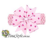 Повязка на голову Цветок розовая повязочка для детей девочек младенца новорожденной лента пов'язочка