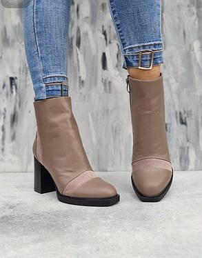 Бежевые ботильоны ботинки кожаные каблук вставки из замши  8.5 см размер 36-40, фото 2