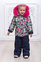 Комбинезон зимний детский на девочку с опушкой на флисе овчине 2-5 лет яркий, фото 1