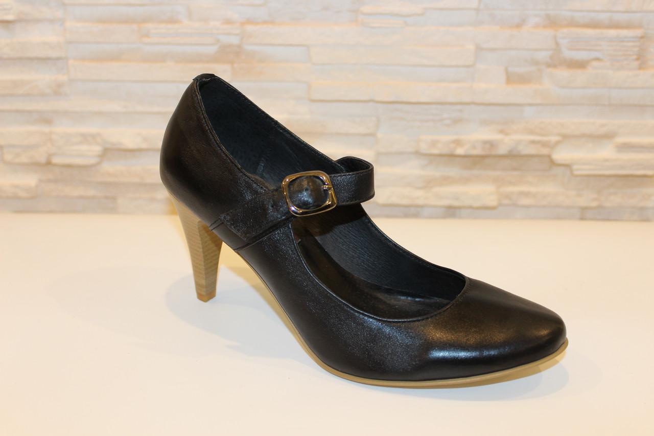 Туфли женские черные натуральная кожа код Т12