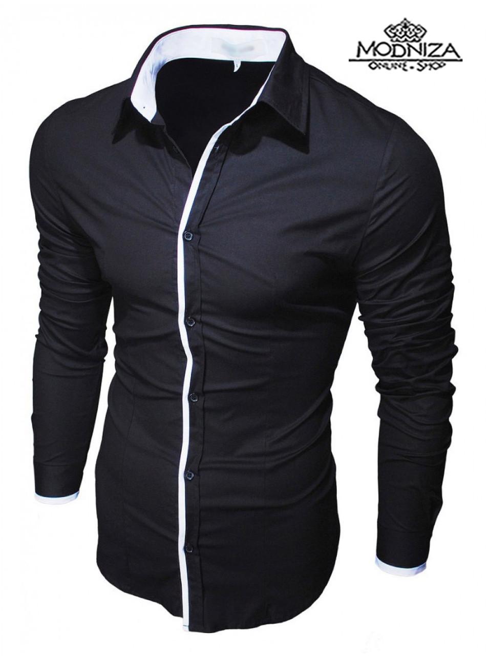 Чоловіча стильна чорна сорочка