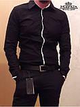 Чоловіча стильна чорна сорочка, фото 4