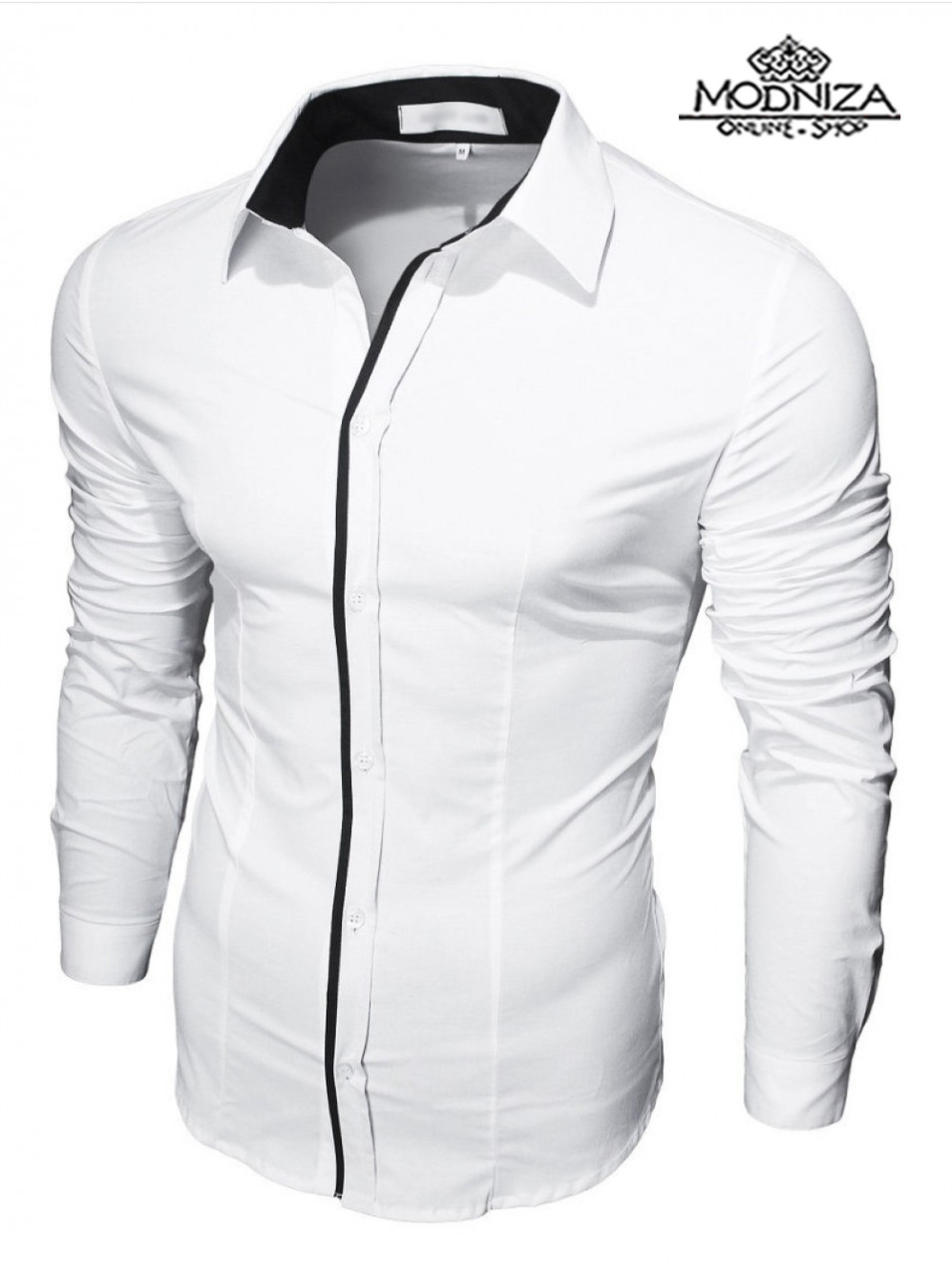 Чоловіча біла сорочка приталеного крою