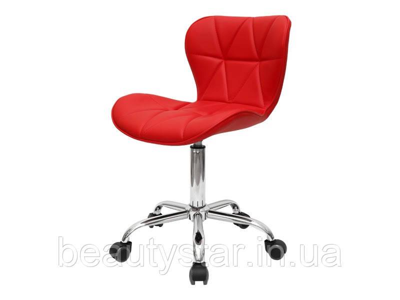 Стульчик мастера красный со спинкой и фигурной строчкой:BeautyServise- мод 161