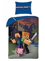 """Постельное белье полуторный еврокомплект Minecraft Майнкрафт """"Жители на страже"""""""
