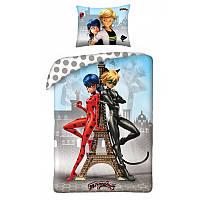 Постельное белье Miraculous Леди Баг и Супер Кот полуторный евро комплект для девочки