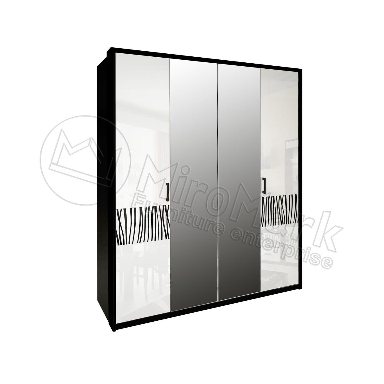 Шкаф Терра 4 дв Белый Глянец-Черный Мат ТМ Миро-Марк
