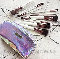 Кисті для макіяжу неонової косметичці BH Cosmetics Crystal Quartz-12 Piece Brush Set, 12 шт.