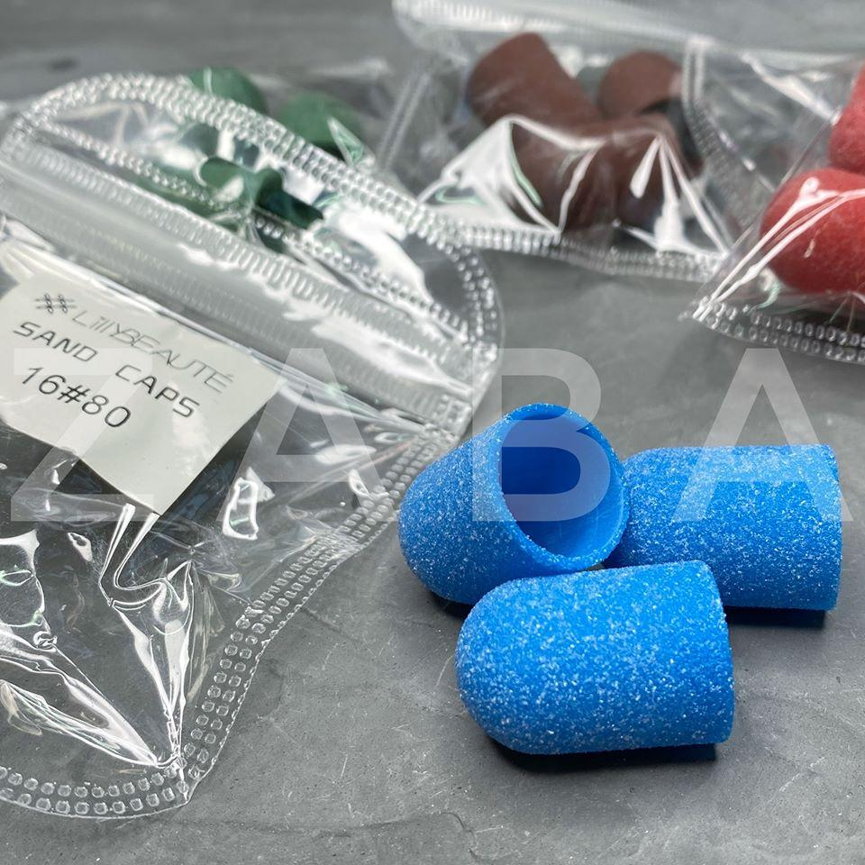 Песочные колпачки для педикюра 80 гритт / 16 мм, цвет в ассортименте